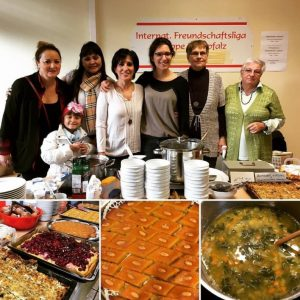 Selling food for a good cause at a yearly event in Schwandorf,offering French, German, Lebanese and Indonesian food.